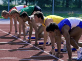 Side Profile of Male Runners at The Starting Line Photographic Print