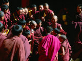 Monks Gathered in Courtyard of Historic Ganden Monastery, Ganden, Tibet Photographic Print by Richard I'Anson