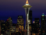 Space Needle at Night, Seattle, Washington, USA Photographic Print by Lawrence Worcester