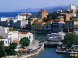 Agios Nikolaos Waterfront and Lake Voulismeni, Agios Nikolaos, Greece Photographic Print by John Elk III