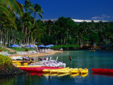 Canoes and Pedal-Boats Lined Up on the Shore of a Lagoon at the Hilton Waikoloa, Hawaii, USA Photographic Print by Ann Cecil