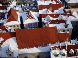 Snow on Rooftops of Old Riga Town Seen from Spire of St. John's Church, Riga, Latvia Photographic Print by Jonathan Smith