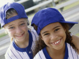 Portrait of Two Girls in Baseball Uniforms Photographic Print