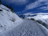 Snow Covered Path in the Alps During Winter, Rhone-Alpes, France Photographic Print by Olivier Cirendini