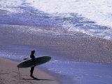 Surfer on the Malibu Shore, Los Angeles, California, USA Photographic Print by Ray Laskowitz