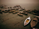 Rowing Boats on Ganges River During Sandstorm, Varanasi, Uttar Pradesh, India Photographic Print by Richard I&#39;Anson