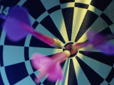 Close-up of Three Darts in the Bull&#39;s-Eye of a Dartboard Photographic Print