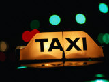 Taxi Light at Night, Adelaide, Australia Photographic Print by John Banagan