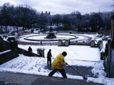 Sweeping Snow from Steps at Central Park in Winter, New York City, New York, USA Photographic Print by Angus Oborn