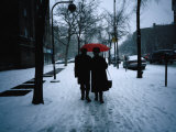Walking on Snowy Winter Street, New York City, New York, USA Photographic Print by Angus Oborn