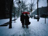 Walking on Snowy Winter Street, New York City, New York, USA Photographic Print by Angus Oborn