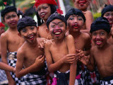 Young Boys from the Ubud Area Have Faces Painted for a School Competition, Ubud, Indonesia Photographic Print by Adams Gregory