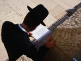 Man Praying at Wailing Wall, Jerusalem, Israel Photographic Print by Oliver Strewe