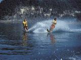 Two Young Men Water Skiing Photographic Print