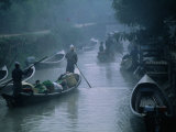 People Ferrying Goods on Canal in Early Morning Mist, Nyaungshwe, Shan State, Myanmar (Burma) Photographic Print by Anders Blomqvist