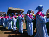 Female Dancers Celebrating Festival of Meskal, Asmara, Eritrea Fotografisk tryk af Frances Linzee Gordon