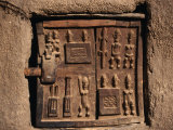 Wooden Door Carved with Traditional Dogon Motifs in Village in Dogon Country, Ende, Mopti, Mali Photographic Print by Jane Sweeney