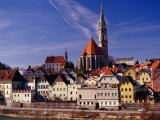 Stadtpfarrkirche (Parish Church) and Town on Enns River, Steyr, Austria Fotodruck von Witold Skrypczak