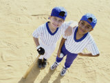 Portrait of Two Boys in Baseball Uniforms Photographic Print