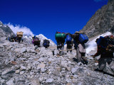 Porters on Mountaineering Expedition Climbing Tirich Glacier in Hindu Kush Range, Pakistan Photographic Print by Grant Dixon
