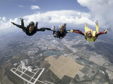 Skydivers Joining Hands Photographic Print