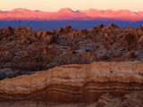 Valley of the Moon and Andes Mountains at Sunset, San Pedro De Atacama, Chile Photographic Print by Woods Wheatcroft