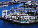 Building and Boats of Marina, Puerto De Mogan, Canary Islands, Spain Photographic Print by Tony Wheeler