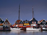 Waterfront Houses and Boats, Volendam, Netherlands Photographic Print by Izzet Keribar