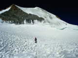 Mountaineer on Final Leg to Summit, Huayna Potosi, Bolivia Photographic Print by Woods Wheatcroft