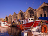 16th Century Arsenali (Docks) with Fishing Boats Moored in Inner Harbour, Hania, Crete, Greece Photographic Print by Diana Mayfield