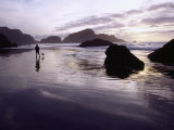 Person Walking Dog at Sunset, Cape Sebastian, OR Photographic Print by Jim Corwin