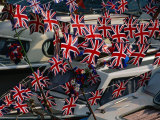 Union Jacks Festooned Over Boats at the Maidstone River Festival, Kent, England Photographic Print by David Tomlinson