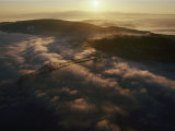 Aerial View of a Bridge over the Foggy Columbia River Photographic Print by Cotton Coulson
