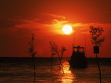 Fishing Boat, Sunset, Rock Harbor, Cape Cod, MA Photographic Print by Ed Langan