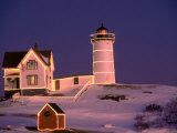 Nubble Lighthouse, Sunset, Christmas, York, ME Photographic Print by Ed Langan