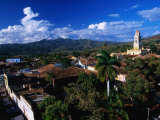 Township with Sierra Del Escambray in Distance, Trinidad, Sancti Spiritus, Cuba Photographic Print by Shannon Nace