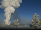 Winter View of Old Faithful Geyser Erupting Photographic Print by Norbert Rosing