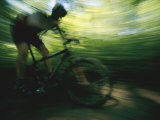 Panned Shot of a Mountain Biker Photographic Print by Stephen Alvarez