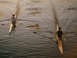Two Rowers Paddle Down the Charles River in the Morning Sunlight Photographic Print by Tim Laman