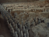 Terra-Cotta Army near 2,200-year-old Tomb of China's 1st Emperor, Qin Shi Huang, near City of Xian Photographic Print by O. Louis Mazzatenta