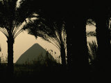 Bent Pyramid Framed by Silhouetted Palm Trees Photographic Print by Kenneth Garrett
