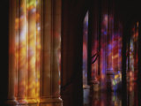 Rich Color Projected from Stained Glass Windows onto Columns Photographic Print by Stephen St. John