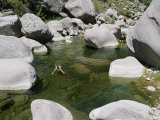 A Woman Swims in the Green Water of the Sespe River Photographic Print by Rich Reid