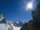 A Moutaineer Climbs Above Palisade Glacier in the Sierra Mountains Fotografisk trykk av Gordon Wiltsie