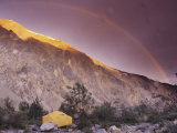 Campers Tent with Mountain and Rainbow Along the Alsek River, Alaska Photographic Print by David Edwards