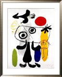 Figur Gegen Rote Sonne II, c. 1950 Art by Joan Miró