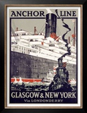 Anchor Line, Glasgow to New York Prints by Kenneth Shoesmith
