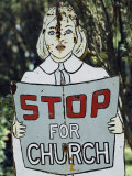 A Rusting Metal Sign Advising People to Stop for Church Photographic Print by Stephen St. John