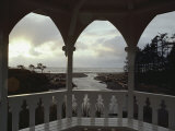 A View from Inside a Gazebo of a Stream Emptying into the Pacific Ocean Photographic Print by Sam Abell