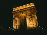 The Arc De Triomphe Lit up at Night Photographic Print by Todd Gipstein